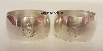RAF Vintage Silver Plated Napkin Rings x 2 Officers Mess (A324)