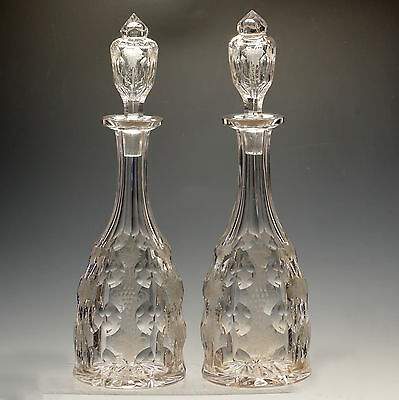 Antique Vintage Crystal Fruiting Vine Matched Pair Wine Decanters Stoppers c1900