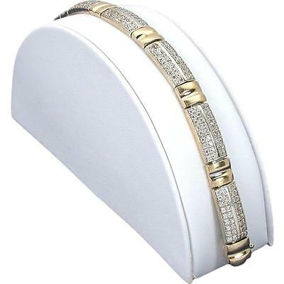 White Faux Leather Bracelet Display Single Half Moon