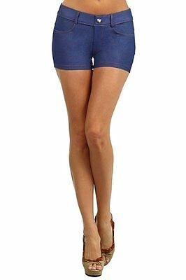 Yelete 807JN201 Womens Casual Summer Stretchy Jegging Shorts Dark Blue Size S