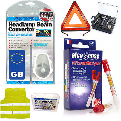 7pce Compulsory All You Need for European Holiday EU Abroad Euro Car Travel Kit