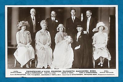 1926 Rp Pc Group Photo For Christening H.r.h. Princess Elizabeth (Later Qeii)