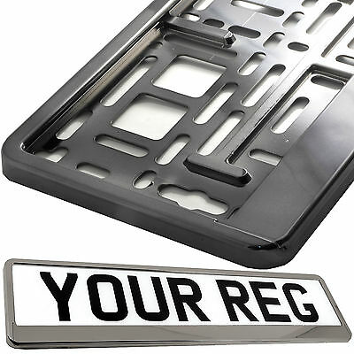 GRAPHITE GREY CHROME Car Number Plate Surround Holder FOR ANY CAR VAN TRAILER
