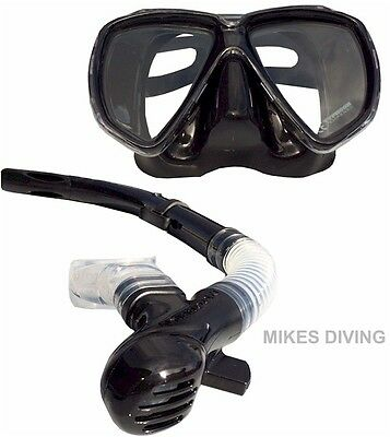 STEALTH BLACK Typhoon ADULT TM2 mask and Snorkel SET silicon diving snorkelling