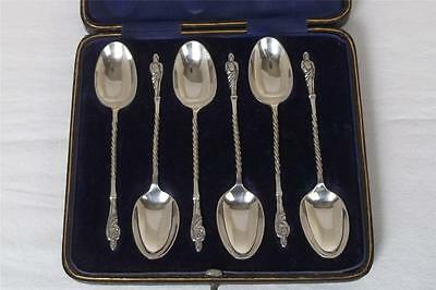 Antique Case Set Of Six Solid Sterling Silver Apostle Spoons Sheffield 1912.