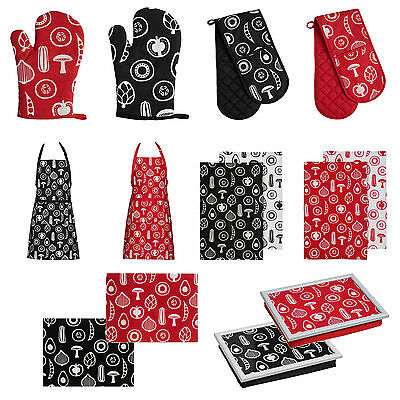 Red Black Besa Kitchen Accessories Cotton Apron Glove Oven Cooking Baking Dining