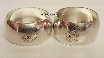 Genuine RAF Vintage Silver Plated Napkin Rings x 2 Officers Mess (A328)