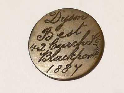 Antique 1887 Engraved Victoria 1d DYSON BEST - BLACKPOOL Token Advertising #S9