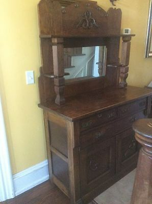 Antique Mission Oak Buffet Sideboard With Mirror- Stickley Style