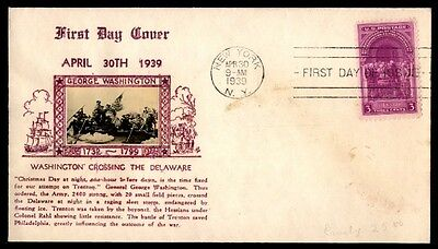 Ny 1939 Washington Crossing The Delaware Photo Cachet On First Day Cover