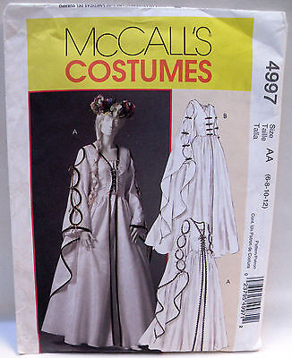 Oop Mccall's 4997 Uncut Pattern Womens Renaissance Gothic Gown Costume 6 8 10 12