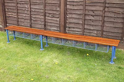 Large Vintage industrial school bench with iroko top