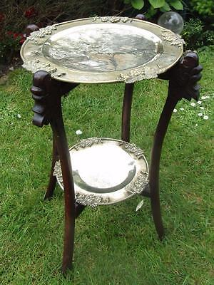 Antique Chinese Folding Hand Carved Wood Table & Double Brass Engraved Trays