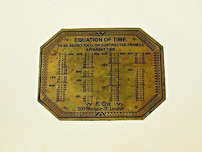 Unusual Old Brass Plaque - Time Formula Chart For Scientific Instrument Or Clock