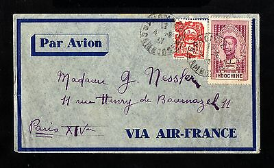 15555-CAMBODIA-AIRMAIL COVER PHNOMPENN to PARIS (france) 1937.CAMBODGE.FRENCH