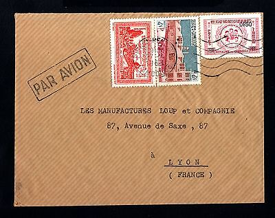 15292-CAMBODIA-AIRMAIL COVER PHNOMPENN to LYON (france) 1963.CAMBODGE.FRENCH
