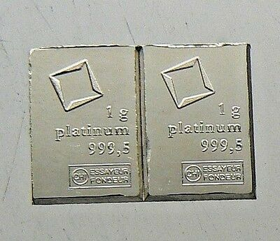 Two New 1 Gram Valcambi Suisse Platinum Bars .9995 Pure
