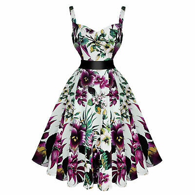 65476b0380 Hearts and Roses London Pretty Purple Floral 1950s Vintage Tea Party Dress  UK