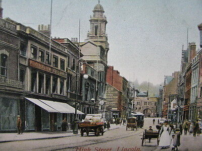 """Un Posted Vintage Postcard Of """"high Street"""" Lincoln."""