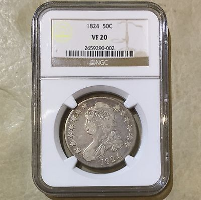 1824 U.S. Capped Bust Half Dollar Silver Coin NGC VF 20