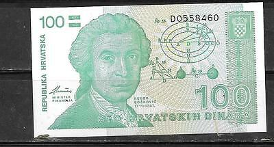 CROATIA #20a 1991 UNC MINT 100 DINARA OLD BANKNOTE BILL NOTE PAPER MONEY