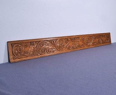 *Vintage French Renaissance Carved Architectural Panel w/Figures in Solid Oak
