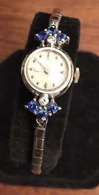 1950's 14K Concord Movmt White Gold Ceylon Sapphire Diamond Ladies WATCH