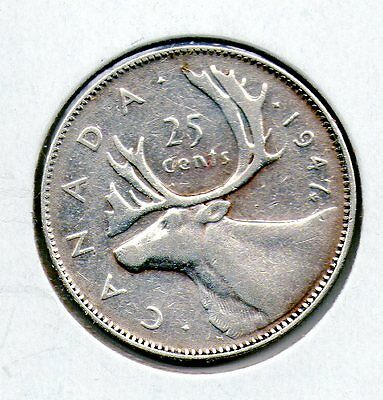 1947 ML  Canada  25 Cent Great looking   coin FREE ship inside the USA
