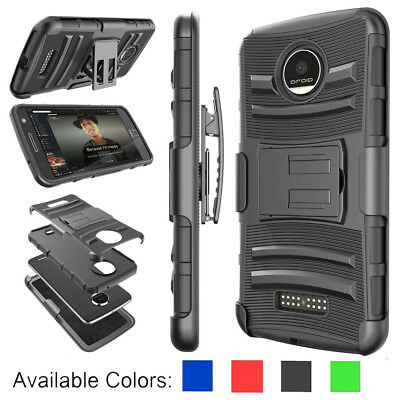 For Motorola Moto Z Play / Force Droid Armor Belt Clip Holster Phone Case Cover