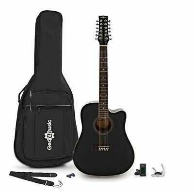 Dreadnought 12 String Acoustic Guitar Black + Accessory Pack
