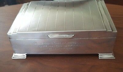Art Deco Sterling Cigarette Box - WW2 Cpt JH Allison DSO RN on H.M.S. Myngs 1946