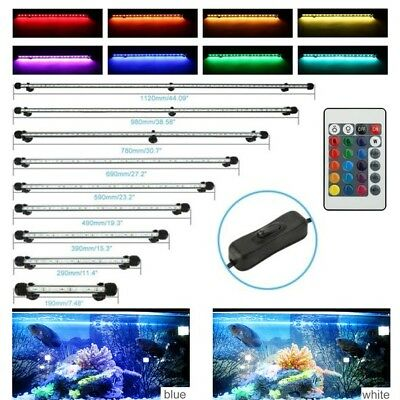 19cm-59cm Aquarium Fish Tank 5050 SMD White RGB LED Light Bar Submersible Lamp
