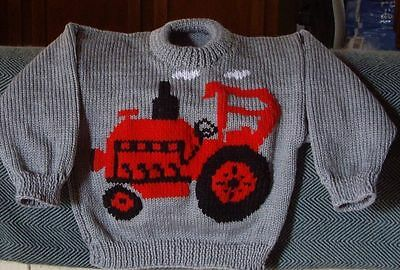 Tractor  Jumper  New Hand Knitted Size 4