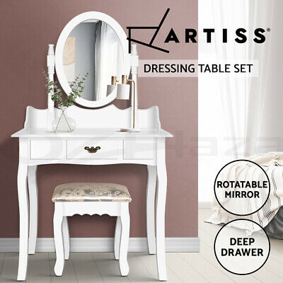 Luxury Dressing Table&Stool Mirror Jewellery Cabinet Storage 1 Drawer Organizer