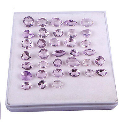 7-12 MM Mixed Natural Brazilian Amethyst Faceted Gemstone 35 Piece Wholesale Lot