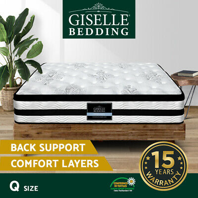 QUEEN Mattress Giselle Bedding 34CM Euro Top Pocket Spring Firm Foam Bed