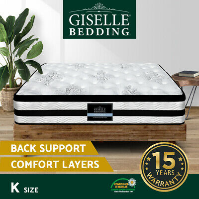 NEW Mattress King Size Euro Top 5 Zone Pocket Spring High Resilience Foam 34CM