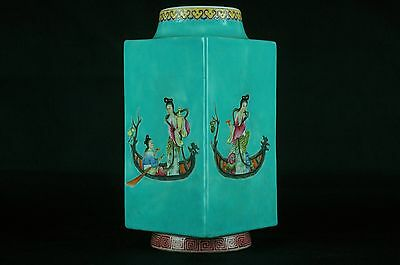 Beautiful Antique Chinese 18/19thC Hand-painted Square Vase -  with mark