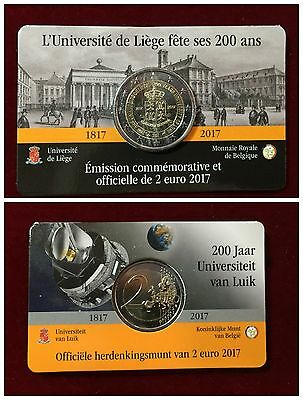 2 EURO BELGIO 2017 COIN CARD UNIVERSITA' DI LIEGI versione FRANCESE