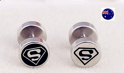 1 Pair Men Women 316L 8mm Ear Taper Round Superman S Studs Piercing Earrings
