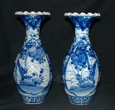 "PAIR OLD ANTIQUE JAPANESE BLUE AND WHITE VASES MEIJI c1910 9.5/8"" inches/ 24.5cm"