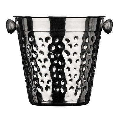 Hammered Stainless Steel Effect Ice Bucket Vintage Drinks Wine Champagne Cooler