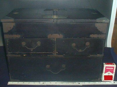 Japanese 44cm Sewing Box #97 Antique Wood Bronze Drawers Haribako Tansu Japan