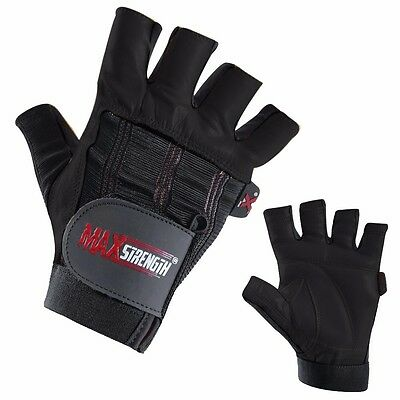 Real Leather Weight Lifting Gloves Fitness Gym Training Body Building Workout