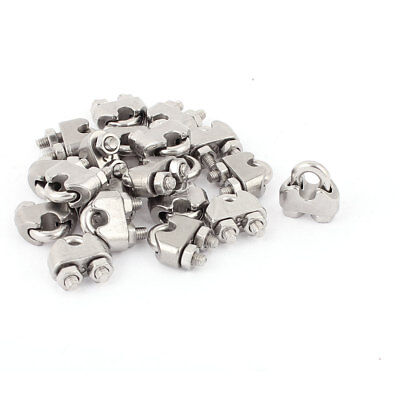 """20 Pcs 3mm 1/8"""" Stainless Steel Wire Rope Cable Clamp Clips Fastener"""