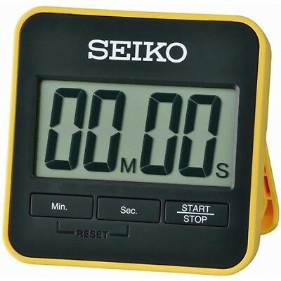 Seiko QHY001Y Digital Countdown Timer and Stopwatch Yellow - Brand New!
