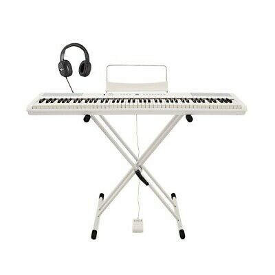 SDP-2 Stage Piano by Gear4music + Stand Pedal and Headphones White