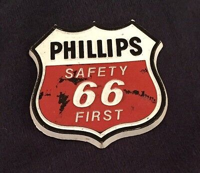 """Phillips 66 Safety First Magnet Metal Toolbox Mancave 1 7/8 x 2"""" Red White Black"""