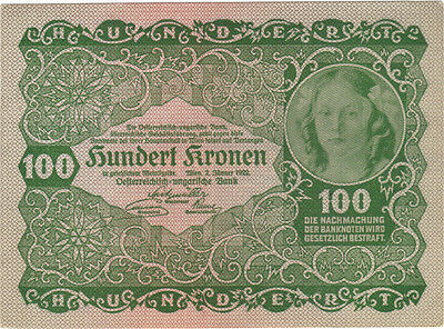 1922 100 Kronen Austria Currency Banknote Note Money Bank Bill Cash Austrian