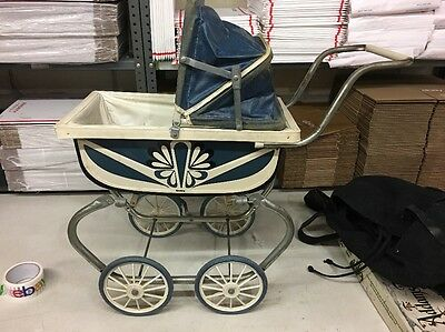 Vintage Crown Brand Metal Framed Baby Doll Pram Stroller Carriage Buggy Litho